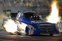 Sept. 3, 2011; Claremont, IN, USA: NHRA funny car driver Terry Haddock during qualifying for the US Nationals at Lucas Oil Raceway. Mandatory Credit: Mark J. Rebilas-