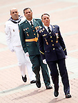 Spanish Officlals of the Marine Corp, Civil Guard and Air Force during a military parade marking the Armed Forces Day on June 2, 2012 in Valladolid.(ALTERPHOTOS/Acero)