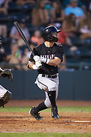 Tyler Frost (1) of the Kannapolis Intimidators follows through on his swing against the Hickory Crawdads at L.P. Frans Stadium on July 20, 2018 in Hickory, North Carolina. The Crawdads defeated the Intimidators 4-1. (Brian Westerholt/Four Seam Images)
