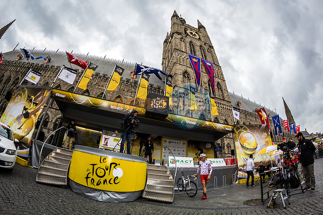 Start Podium in Ieper, Ypres, Belgium, Tour de France, Stage 5: Ypres > Arenberg Porte du Hainaut, UCI WorldTour, 2.UWT, Wallers, France, 9th July 2014, Photo by Thomas van Bracht / Peloton Photos