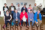 Receiving certificates at the Adult Literacy awards from broadcaster Weeshie Fogarty in Killarney on Thursday front row l-r: Margaret Paulie Doyle, Weeshie Fogarty, Sheila Crowley, Eamon Collier, Jerry Donoghue. Back row: Julia O'Sullivan, John Ryan, Jerimiah O'mahony, Mossie Pierse, Bridget Morris, John O'Sullivan