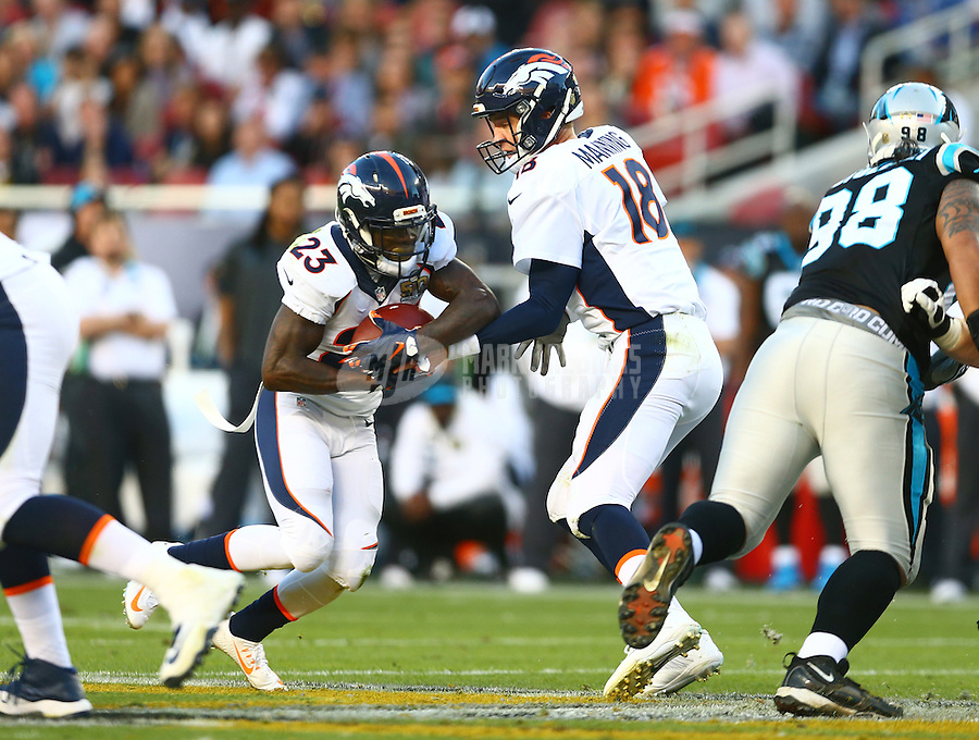 Feb 7, 2016; Santa Clara, CA, USA; Denver Broncos quarterback Peyton Manning (18) hands off the ball to running back Ronnie Hillman (23) against the Carolina Panthers in Super Bowl 50 at Levi's Stadium. Mandatory Credit: Mark J. Rebilas-USA TODAY Sports