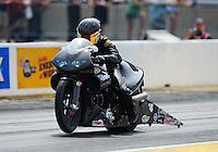 Jul, 10, 2011; Joliet, IL, USA: NHRA pro stock motorcycle rider Matt Smith during the Route 66 Nationals at Route 66 Raceway. Mandatory Credit: Mark J. Rebilas-