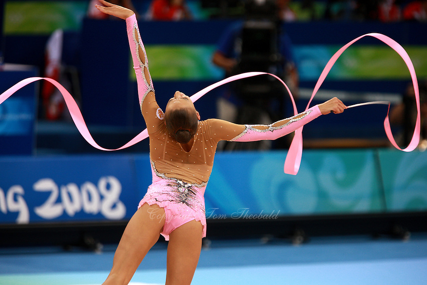August 23, 2008; Beijing, China; Rhythmic gymnast Evgenia Kanaeva of Russia performs with ribbon on way to winning gold in the All-Around final at 2008 Beijing Olympics..(©) Copyright 2008 Tom Theobald
