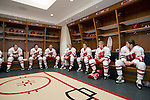 Wisconsin Badgers Captain Brianna Decker (18), second from right, talks to her teammates prior to opening night against the Bemidji State Beavers at the LaBahn Arena Friday, October 19, 2012 in Madison, Wis. (Photo by David Stluka)