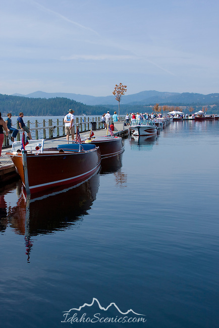The antique and classic boat society International boat show on the floating boardwalk in Coeur D Alene Idaho, features vintage wooden boats from around the world. Sept. 19, 2008