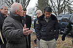 Governor Bobby Jindal of Louisiana tours a neighborhood devastated by floods last summer in Cedar Rapids, Iowa on November 22, 2008.