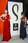 Fashion designer Sheena Trivedi (right) posing with Amber Alicia before the Sheena Trivedi Spring Summer 2014 collection fashion show, at Hotel Chantelle on October 21, 2013.
