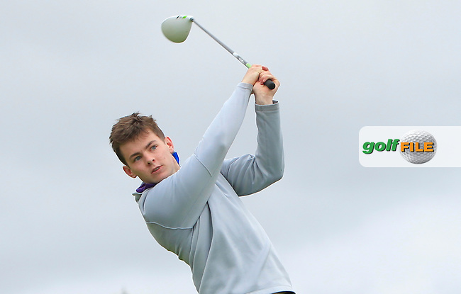 Ryan Gibbons (Castlebar) on the 18th tee during R1 of the 2016 Connacht U18 Boys Open, played at Galway Golf Club, Galway, Galway, Ireland. 05/07/2016. <br /> Picture: Thos Caffrey | Golffile<br /> <br /> All photos usage must carry mandatory copyright credit   (&copy; Golffile | Thos Caffrey)