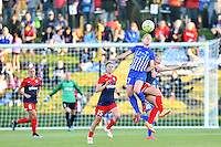 Boyds, MD - Saturday April 16, 2016: Boston Breakers player McCall Zerboni (77)  heads the ball during a National Women's Soccer League (NWSL) match against the Washington Spirit at Maureen Hendricks Field Maryland SoccerPlex.