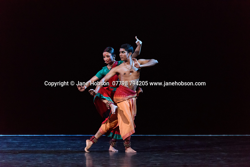 """In its second year at Sadler's Wells, Darbar Festival welcomes some of the most exciting names in classical Indian dance, curated by Sadler's Wells Associate Artist Akram Khan. In the first performance of the festival, Renjith Babu and Neha Mondal Chakravarty present """"An Evening of Bharatanatyam"""" by the bharatanatyam and contemporary artist Mavin Khoo. The second evening of the programme, """"Adventures in Odissi and Kathak"""", combines two classical Indian dance forms in solo performances by Sujata Mohapatra and Gauri Diwakar.<br /> Winner of the 2017 Sangeet Natak Akademi award for outstanding contribution to odissi, Sujata Mohapatra performs work that treads the line between odissi dance and theatre. Multi award-winning kathak dancer Gauri Diwakar performs Hari Ho...Gati Meri (""""Let my salvation be in the supreme""""), a solo choreographed by Aditi Mangaldas.<br /> <br /> Pictured: Renjith Babu and Neha Mondal Chakravarty in """"An Evening of Bharatanatyam"""" by the bharatanatyam and contemporary artist, Mavin Khoo."""