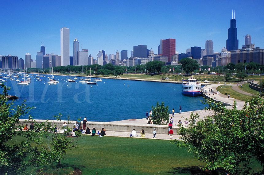 cityscape of Chicago showing Lake Michigan waterfront. Chicago Illinois USA.