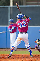 Nate Chong (32) of the Presbyterian Blue Hose at bat against the High Point Panthers at the Presbyterian College Baseball Complex on March 3, 2013 in Clinton, South Carolina.  The Blue Hose defeated the Panthers 4-1.  (Brian Westerholt/Four Seam Images)