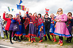Local fans in traditional dress wait at the roadside for the race during Stage 1 of the 2018 Artic Race of Norway, running 184km from Vadso to Kirkenes, Norway. 16th August 2018. <br /> <br /> Picture: ASO/Rune Dahl | Cyclefile<br /> All photos usage must carry mandatory copyright credit (&copy; Cyclefile | ASO/Rune Dahl)