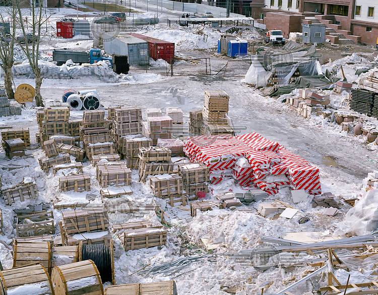 Building materials on a construction site in the centre of the new capital city.