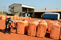 BURKINA FASO , Bobo Dioulasso, Société Burkinabè des Fibres Textiles SOFITEX cotton ginning company unit Bobo I, processing of conventional and gene manipulated Monsanto BT cotton, bales are ready for Export wrapped in orange plastic cover / SOFITEX, Fabrik fuer Baumwollentkernung Werk Bobo I, Verarbeitung von konventioneller und genmanipulierter Monsanto Baumwolle, Ballen in Plastikfolie fertig fuer den Export
