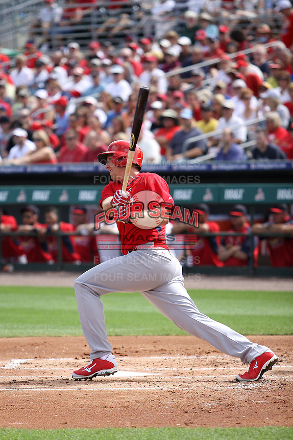 Stephen Piscotty (91) of the St. Louis Cardinals at bat during a spring training game against the Miami Marlins at the Roger Dean Complex in Jupiter, Florida on March 5, 2015. St. Louis defeated Miami 4-1. (Stacy Jo Grant/Four Seam Images)