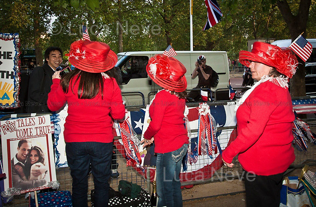 London, 28/04/2011. Hundreds of thousands of people gathered in central London the day before the Royal Wedding between Prince William and Kate Middleton. These pictures have been taken in Parliament Square, outside Westminster Abbey, and along the Mall.