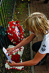 LONDON, ENGLAND, 22 May ,2014.  Wreaths are laid to mark the first anniversary of the murder of Fusilier Lee Rigby  near his Woolwich barracks.