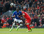 Romelu Lukaku of Everton in action with Dejan Lovren of Liverpool during the English Premier League match at Anfield Stadium, Liverpool. Picture date: April 1st 2017. Pic credit should read: Simon Bellis/Sportimage