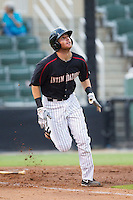 Danny Hayes (32) of the Kannapolis Intimidators starts down the first base line during the game against the Charleston RiverDogs at CMC-NorthEast Stadium on June 27, 2014 in Kannapolis, North Carolina.  The Intimidators defeated the RiverDogs 6-5.  (Brian Westerholt/Four Seam Images)