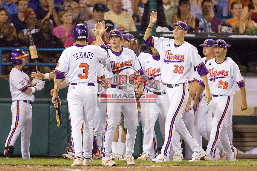 Clemson scores 6254 in Game 8 of the NCAA Division One Men's College World Series on Monday June 22nd, 2010 at Johnny Rosenblatt Stadium in Omaha, Nebraska.  (Photo by Andrew Woolley / Four Seam Images)