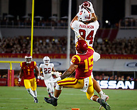 LOS ANGELES, CA - SEPTEMBER 8: Stanford Cardinal tight end Colby Parkinson #84 makes a catch with coverage by USC Trojans safety Talanoa Hufanga #15 during a game between USC and Stanford Football at Los Angeles Memorial Coliseum on September 7, 2019 in Los Angeles, California.