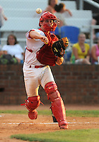 Catcher Cody Stanley (25) of the Johnson City Cardinals in a game against the Kingsport Mets on July 17, 2010, at Howard Johnson Field in Johnson City, Tenn. Stanley was the St. Louis Cardinals' 4th round pick in the 2010 Draft. Photo by: Tom Priddy/Four Seam Images