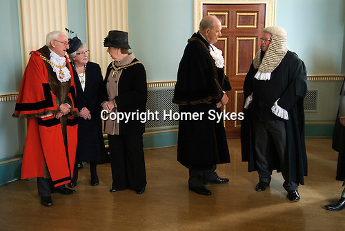 Hercules Clay  Penny Loaf Day. The Mayor of Newark Tom Bickley and the Lady Mayoress Ondra Bickley, wait in line to receive guests in the Town Hall at the start of the reception.<br />
