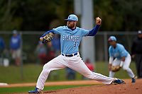 Indiana State Sycamores pitcher Tyler Grauer (37) during a game against the Dartmouth Big Green on February 21, 2020 at North Charlotte Regional Park in Port Charlotte, Florida.  Indiana State defeated Dartmouth 1-0.  (Mike Janes/Four Seam Images)