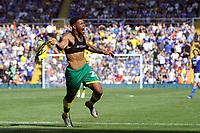 Onel Hernandez of Norwich City scores to put the scores level during Birmingham City vs Norwich City, Sky Bet EFL Championship Football at St Andrews on 4th August 2018
