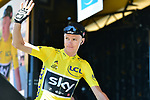 Race leader Christopher Froome (GBR) team Sky at sign on before Stage 15 of the 104th edition of the Tour de France 2017, running 189.5km from Laissac-Severac l'Eglise to Le Puy-en-Velay, France. 16th July 2017.<br /> Picture: ASO/Pauline Ballet | Cyclefile<br /> <br /> <br /> All photos usage must carry mandatory copyright credit (&copy; Cyclefile | ASO/Pauline Ballet)