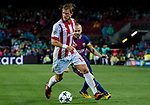 Guillaume Gillet (l) of Olympiacos FC fights for the ball with Andres Iniesta Lujan of FC Barcelona during the UEFA Champions League 2017-18 match between FC Barcelona and Olympiacos FC at Camp Nou on 18 October 2017 in Barcelona, Spain. Photo by Vicens Gimenez / Power Sport Images