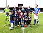 Team captains and match officials with Drogheda United mascots Nathan Hynes, Dylan Carolan, Nathan Barnett, Liam Greenslade, jayden Walsh McDonnell, Kayleigh Walsh McDonnell and Nathan Brady at the Drogheda United V Ipswich Town match at United Park. Photo:Colin Bell/pressphotos.ie