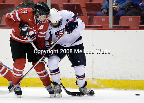 Caroline Ouellette (Canada - 13), Molly Engstrom (US - 9) - Team USA defeated Team Canada 4-3 (so) to win the 2008 Four Nations Cup on Sunday, November 9, 2008, in the 1980 Rink in Lake Placid, New York.