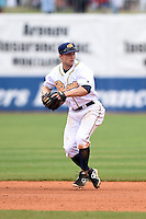 Montgomery Biscuits second baseman Ryan Brett (1) throws to first during a game against the Mississippi Braves on April 22, 2014 at Riverwalk Stadium in Montgomery, Alabama.  Mississippi defeated Montgomery 6-2.  (Mike Janes/Four Seam Images)