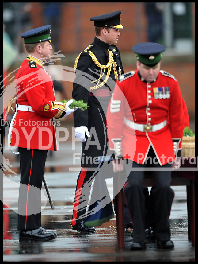 The Duchess of Cambridge and Prince William attend The Irish Guards' St Patrick's Day Parade with the shamrock being presented by HRH The Duchess of Cambridge, Sunday March 17, 2013. Photo By Andrew Parsons / i-Images/DyD Fotografos