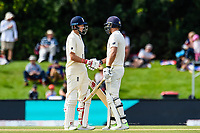 Dawid Malan gets to 50 runs with Joe Root of England during Day 4 of the Second International Cricket Test match, New Zealand V England, Hagley Oval, Christchurch, New Zealand, 2nd April 2018.Copyright photo: John Davidson / www.photosport.nz