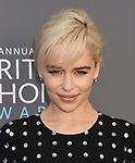 SANTA MONICA, CA - JANUARY 11: Actress Emilia Clarke attends The 23rd Annual Critics' Choice Awards at Barker Hangar on January 11, 2018 in Santa Monica, California.