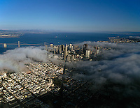 aerial photograph Columbus Avenue fog San Francisco, California