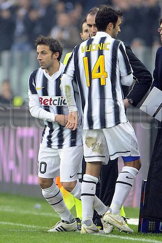 04 12 2011 Turin, Italy.  Series A Juventus versus Cesena Photo Alessandro DEL Piero substitutes for Mirko Vucinic