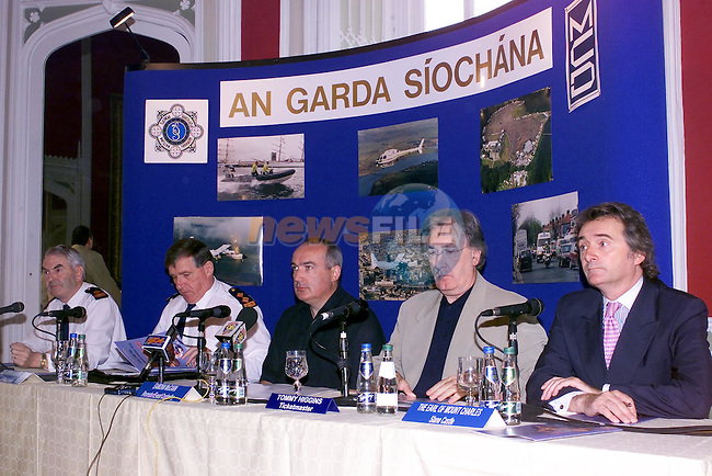 Slane castle Press Conference Left to right Supt. Eamon Courtney, Chief Supt Mick Finnegan, eamon McCann MCD/Promoter, Tommy Higgins Ticket Master and Lord Henry Mountcharles...Picture Fran Caffrey Newsfile.