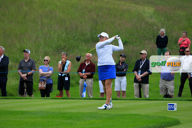 Bronte Law on the 6th tee during the Friday afternoon Fourballs of the 2016 Curtis Cup at Dun Laoghaire Golf Club on Friday 10th June 2016.<br /> Picture:  Golffile | Thos Caffrey