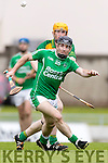 Kilmoyley in action against Bobby O'Sullivan Ballyduff in the County Senior Hurling Final at Austin Stack Park on Sunday.