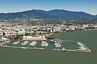 Aerial view of marina and central business district.  Cairns, Queensland, Australia