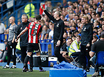 Chris Wilder manager of Sheffield Utd congratulates Jake Wright of Sheffield Utd during the Championship match at the Hillsborough Stadium, Sheffield. Picture date 24th September 2017. Picture credit should read: Simon Bellis/Sportimage