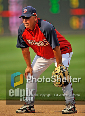 21 June 2008: Washington Nationals' Third Base Coach Tim Tolman lends his fielding experience during batting practice prior to a game against the Texas Rangers at Nationals Park in Washington, DC. The Nationals fell to the Rangers 13-3 in the second game of their 3-game inter-league series...Mandatory Photo Credit: Ed Wolfstein Photo