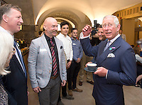 12 July 2016 - London, England - Prince Charles Prince of Wales visits Christ Church in Spitalfields, East London, UK, to see the extensive work done to restore the crypt and meet volunteers and local residents who benefit  from the restoration. Photo Credit: ALPR/AdMedia