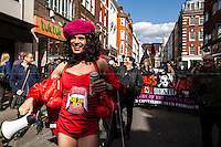 London, 11/04/2015. Today, Adam Clifford (aka Jimmy Kunt), the Class War Candidate for the City of London and Westminster in the upcoming British General Election (7th of May 2015), did his election rounds in Soho.<br /> <br /> &quot;Stickers, Posters, Banners, Russell Brand, Occupy Statues, Class War&hellip; An Invisible Electoral Campaign&quot;.<br /> <br /> For more pictures and info about this event please click here: http://bit.ly/1H71ECg