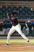 AZL Giants Black center fielder Alexander Canario (14) at bat during an Arizona League game against the AZL Rangers at Scottsdale Stadium on August 4, 2018 in Scottsdale, Arizona. The AZL Giants Black defeated the AZL Rangers by a score of 6-3 in the second game of a doubleheader. (Zachary Lucy/Four Seam Images)